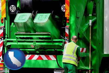 an environmental services worker and a garbage truck - with California icon