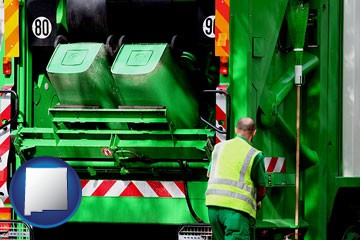 an environmental services worker and a garbage truck - with New Mexico icon